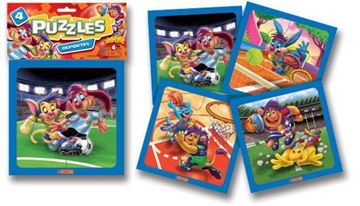 Imagen de 4 Puzzles 4 piezas - Deportes